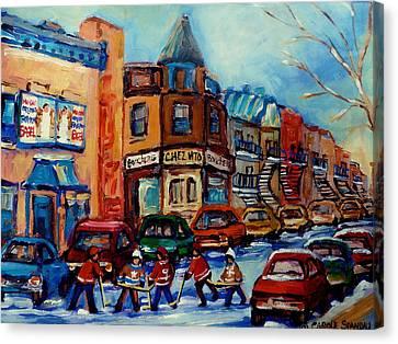 Paintings Of Montreal Hockey On Fairmount Street Canvas Print by Carole Spandau