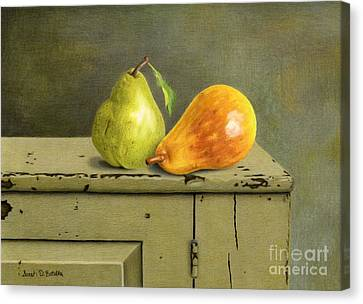 Pair Of Pears Canvas Print by Sarah Batalka