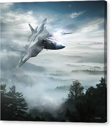 Pak Fa Aka T-50 - Russian Fifth-generation Fighter Jet Canvas Print by Anton Egorov