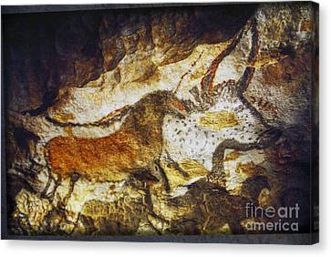 Paleolithic Cave Painting Canvas Print by Ruth Hofshi