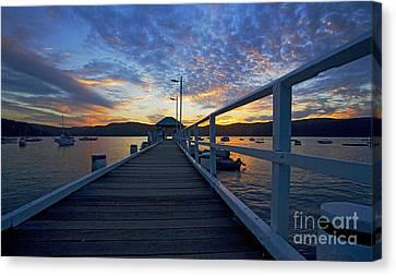 Palm Beach Wharf At Dusk Canvas Print by Avalon Fine Art Photography