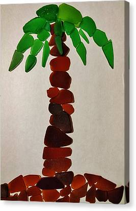 Palm Sunday Sea Glass Palm Tree 1 3/29 Canvas Print by Mark Lemmon