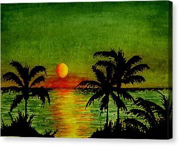 Palm Trees Setting Sun Canvas Print by Michael Vigliotti