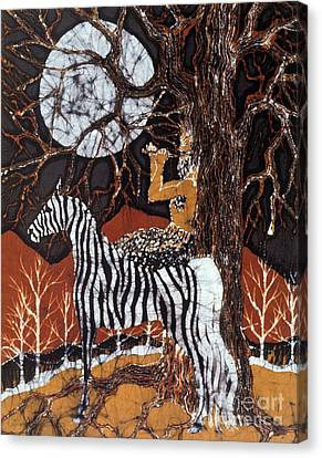 Pan Calls The Moon From Zebra Canvas Print by Carol Law Conklin