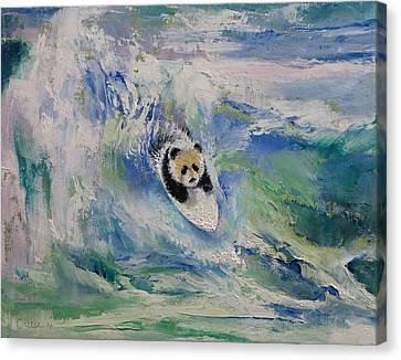 Panda Surfer Canvas Print by Michael Creese