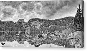 Panorama Of Bear Lake And Halletts Peak In Monochrome - Rocky Mountain National Park Estes Park Colo Canvas Print by Silvio Ligutti