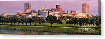Panorama Of Downtown Fort Worth And Trinity River At Twilight - Dfw North Texas Canvas Print by Silvio Ligutti