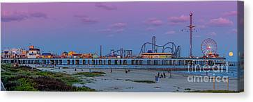 Panorama Of Historic Pleasure Pier With Full Moon Rising In Galveston Island - Texas Gulf Coast Canvas Print by Silvio Ligutti