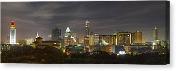 Panorama Of The Austin Skyline On A September Morning Canvas Print by Rob Greebon