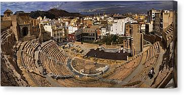 Panorama Of The Roman Forum In Cartagena Spain Canvas Print by David Smith