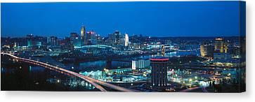 Panoramic Night Shot Of Cincinnati Canvas Print by Panoramic Images