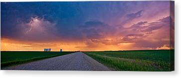 Panoramic Prairie Lightning Storm Canvas Print by Mark Duffy