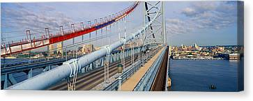Panoramic View Of Ben Franklin Bridge Canvas Print by Panoramic Images