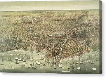 Panoramic View Of The City Of Chicago Canvas Print by American School