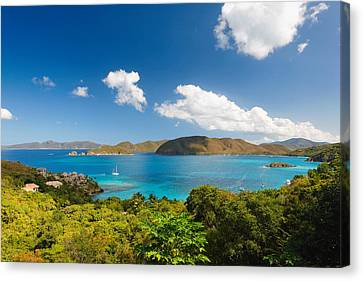 Panoramic View Of Trunk Bay Canvas Print by George Oze