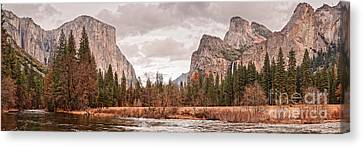 Panoramic View Of Yosemite Valley From Bridal Veils Falls Viewing Point - Sierra Nevada California Canvas Print by Silvio Ligutti