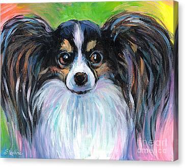 Papillon Dog Painting Canvas Print by Svetlana Novikova