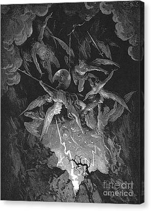 Paradise Lost  The Fall Of Man Canvas Print by Gustave Dore