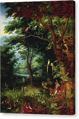 Paradise Scene With Adam And Eve Canvas Print by Jan the Younger Brueghel