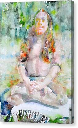 Paramahansa Yogananda - Watercolor Portrait.3 Canvas Print by Fabrizio Cassetta