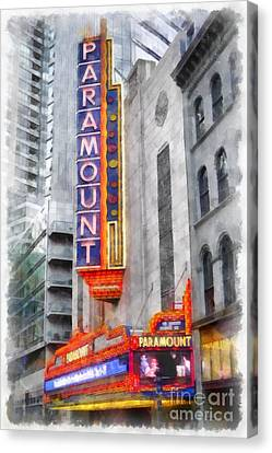 Paramount Theater Boston Ma Canvas Print by Edward Fielding