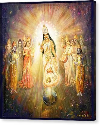 Parashakti Devi - The Great Goddess In Space Canvas Print by Ananda Vdovic