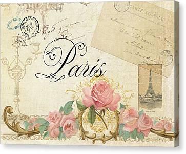 Parchment Paris - Timeless Romance Canvas Print by Audrey Jeanne Roberts