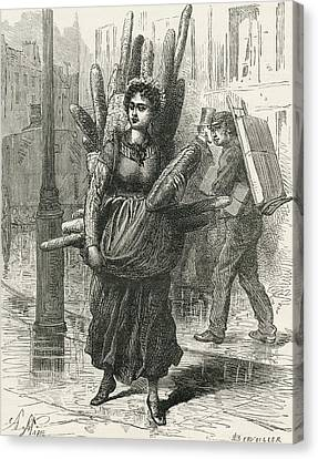 Paris Bread Carrier In The 19th Canvas Print by Vintage Design Pics