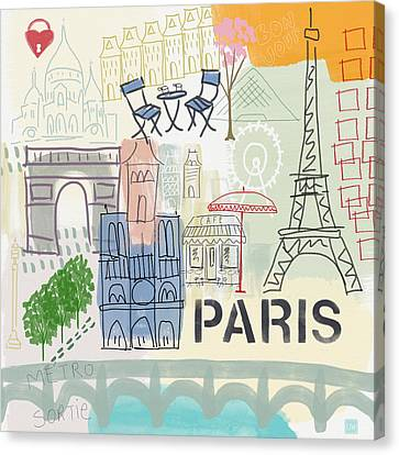 Paris Cityscape- Art By Linda Woods Canvas Print by Linda Woods