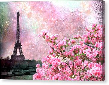 Paris Eiffel Tower Cherry Blossoms - Paris Spring Eiffel Tower Pink Blossoms  Canvas Print by Kathy Fornal