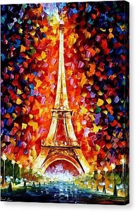 Paris - Eiffel Tower Lighted Canvas Print by Leonid Afremov