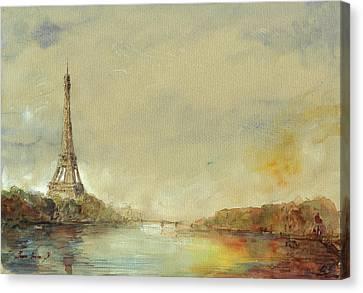 Paris Eiffel Tower Painting Canvas Print by Juan  Bosco