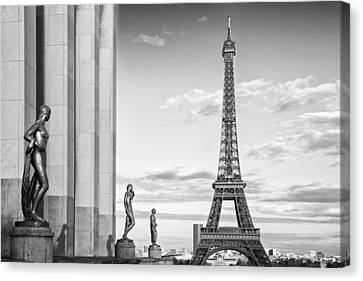 Paris Eiffel Tower Trocadero Monochrome Canvas Print by Melanie Viola