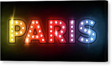 Paris In Lights Canvas Print by Michael Tompsett