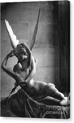 Paris In Love - Eros And Psyche Romantic Lovers - Paris Eros Psyche Louvre Sculpture Black White Art Canvas Print by Kathy Fornal