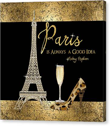 Paris Is Always A Good Idea - Audrey Hepburn Canvas Print by Audrey Jeanne Roberts