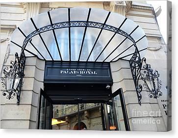 Paris Palais Royal Hotel Door - Paris Art Nouveau Hotel Palais Royal Entrance Architecture Canvas Print by Kathy Fornal