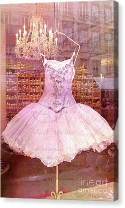 Paris Pink Ballerina Tutu - Paris Pink Ballerina Tutu Canvas Print by Kathy Fornal