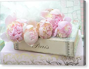 Paris Pink Peonies Romantic Shabby Chic French Market Peonies - Paris Romantic Peonies And Book Art Canvas Print by Kathy Fornal