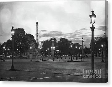 Paris Place De La Concorde Plaza Night Lanterns Street Lamps - Black And White Paris Street Lights Canvas Print by Kathy Fornal