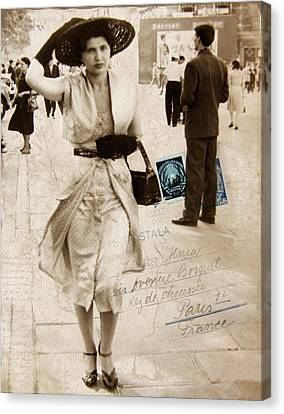 Paris Postcard Canvas Print by Jessica Jenney