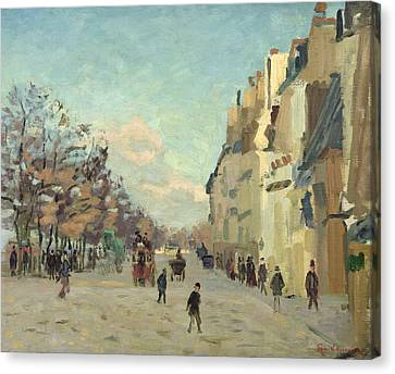 Paris Quai De Bercy Snow Effect Canvas Print by Jean Baptiste Armand Guillaumin