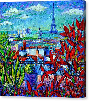 Paris Rooftops - View From Printemps Terrace   Canvas Print by Mona Edulesco