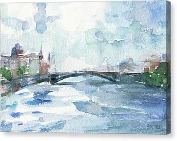 Paris Seine Shades Of Blue Canvas Print by Beverly Brown Prints