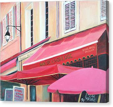 Paris Street Scene - Bar De L'horloge Canvas Print by Jan Matson