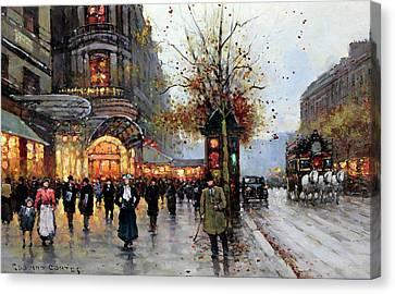 Paris Street Scene Canvas Print by Edouard Cortes