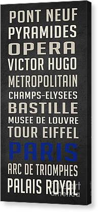 Paris Subway Stations Vintage Canvas Print by Edward Fielding