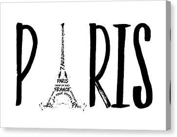 Paris Typography Canvas Print by Melanie Viola