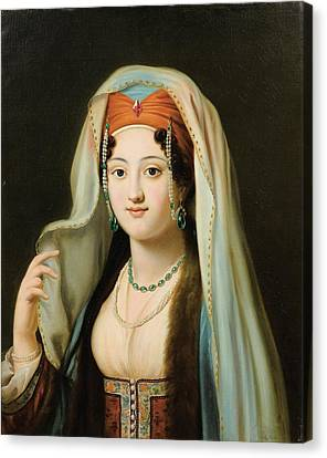 Paris Young Woman In Traditional Dress Ottoman Canvas Print by Charles Francis