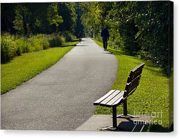 Park Bench And Person On Walking Trail Photo Canvas Print by Paul Velgos